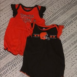 Cleveland Browns Ruffle Sleeved Rompers
